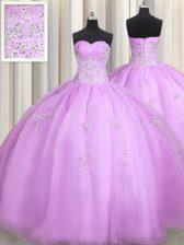 Ball Gowns Quince Ball Gowns Lilac Sweetheart Organza Sleeveless Floor Length Zipper