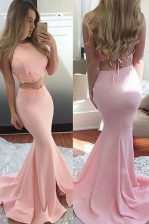 Scoop Pink Mermaid Lace Prom Dress Backless Elastic Woven Satin Sleeveless With Train