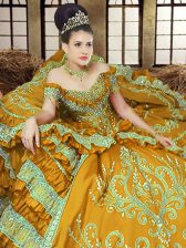 Beauteous Off the Shoulder Gold Lace Up Quinceanera Gown Embroidery Sleeveless Floor Length