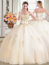 Beauteous Champagne Ball Gowns Tulle Sweetheart Sleeveless Beading Floor Length Lace Up Quince Ball Gowns