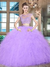 Scoop Lavender Cap Sleeves Floor Length Beading and Appliques and Ruffles Zipper Quinceanera Gown