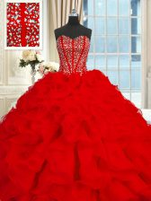 With Train Ball Gowns Sleeveless Red Ball Gown Prom Dress Brush Train Lace Up