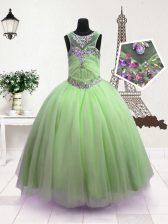 Hot Selling Scoop Green Sleeveless Floor Length Beading Zipper Little Girls Pageant Dress