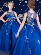 Trendy Royal Blue Organza Zipper Scoop Sleeveless Floor Length Little Girl Pageant Gowns Beading and Appliques