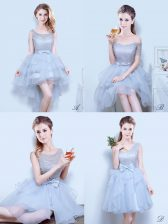 Grey Dama Dress for Quinceanera Prom and Party and Wedding Party with Lace and Ruffles and Ruffled Layers and Bowknot Scoop Sleeveless Lace Up