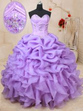 Pick Ups Floor Length Ball Gowns Sleeveless Lavender Sweet 16 Dress Lace Up