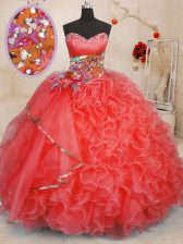 Sleeveless Organza Floor Length Lace Up Sweet 16 Dress in Coral Red with Beading and Ruffles