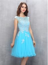 Scoop Knee Length Blue Prom Evening Gown Organza Cap Sleeves Beading and Appliques