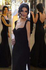 Mermaid Black Sleeveless Sweep Train Ruching Dress for Prom