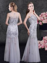 Pretty Scoop Grey Tulle Zipper Prom Evening Gown Sleeveless Floor Length Lace and Appliques