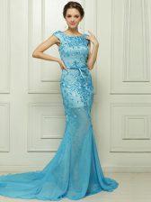 Baby Blue Mermaid Chiffon Bateau Sleeveless Beading and Appliques With Train Zipper Dress for Prom Brush Train