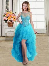 Fantastic Scoop Sleeveless Lace Up High Low Beading and Ruffles Dress for Prom