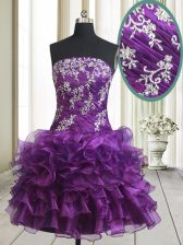 Admirable Purple Organza Lace Up Prom Evening Gown Sleeveless Mini Length Beading and Ruffled Layers
