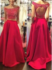 Beauteous Off the Shoulder Sleeveless With Train Beading Backless Dress for Prom with Red Sweep Train