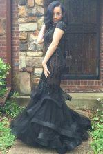 Mermaid Scoop Cap Sleeves Sweep Train Zipper With Train Beading and Ruffles Prom Dresses