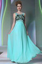 Aqua Blue Scoop Neckline Beading Dress for Prom Sleeveless Side Zipper