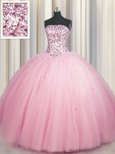 Big Puffy Strapless Sleeveless 15 Quinceanera Dress Floor Length Sequins Pink Tulle