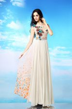 Latest White Scoop Neckline Appliques and Ruching and Pattern Evening Dress Sleeveless Side Zipper