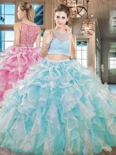 Low Price Sleeveless Floor Length Beading and Ruffles Side Zipper Quinceanera Dresses with Aqua Blue