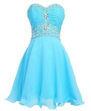 Exquisite Aqua Blue Empire Organza Sweetheart Sleeveless Beading and Belt Mini Length Lace Up Prom Dresses