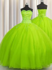Big Puffy Sweetheart Sleeveless Lace Up Sweet 16 Quinceanera Dress Tulle