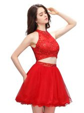 Chic Coral Red Two Pieces Organza High-neck Sleeveless Beading Mini Length Zipper Prom Party Dress