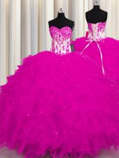 Wonderful Sleeveless Floor Length Appliques Lace Up Quince Ball Gowns with Fuchsia