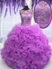 Lilac Scoop Neckline Beading and Ruffles Quince Ball Gowns Sleeveless Lace Up