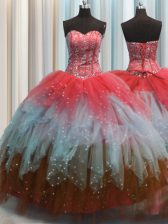 Fashion Visible Boning Multi-color Lace Up Sweetheart Beading and Ruffles and Sequins Quinceanera Gowns Tulle Sleeveless