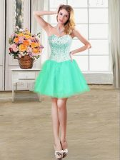 Turquoise Organza Lace Up Sweetheart Sleeveless Mini Length Homecoming Dress Beading