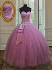 Attractive Lilac Sleeveless Tulle Lace Up Quinceanera Dresses for Military Ball and Sweet 16 and Quinceanera