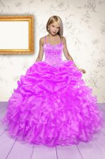 Sleeveless Lace Up Floor Length Beading and Ruffles and Pick Ups Little Girls Pageant Gowns