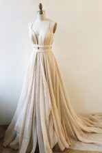 Lace With Train A-line Sleeveless Champagne Prom Gown Court Train Backless