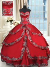 Wine Red Sleeveless Beading and Embroidery and Ruffled Layers Floor Length Sweet 16 Quinceanera Dress