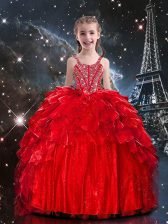 Red Ball Gowns Organza Spaghetti Straps Sleeveless Beading and Ruffles Floor Length Lace Up Little Girls Pageant Dress