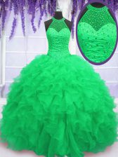 High-neck Neckline Beading and Ruffles Ball Gown Prom Dress Sleeveless Lace Up
