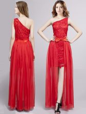 Popular One Shoulder Sleeveless Prom Dresses Floor Length Lace and Bowknot Red Tulle and Lace