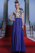 Royal Blue Column/Sheath Scoop Cap Sleeves Chiffon Floor Length Zipper Embroidery and Sequins Prom Evening Gown