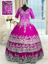 Fuchsia V-neck Zipper Beading and Appliques and Ruffled Layers Quinceanera Gown Half Sleeves