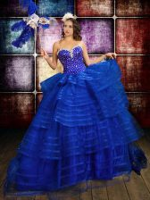 Royal Blue Ball Gowns Organza Sweetheart Sleeveless Beading and Ruffled Layers Floor Length Lace Up 15 Quinceanera Dress