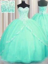 Hot Selling Turquoise Organza Lace Up Quinceanera Gown Sleeveless With Brush Train Beading and Appliques