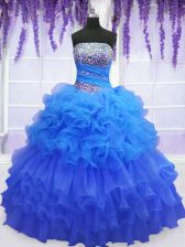 Flirting Organza Sleeveless Floor Length Sweet 16 Quinceanera Dress and Beading and Ruffled Layers and Pick Ups
