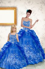 Royal Blue Ball Gowns Beading and Embroidery and Pick Ups Quince Ball Gowns Lace Up Taffeta Sleeveless Floor Length