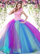 Backless Multi-color Sleeveless Beading Floor Length Vestidos de Quinceanera