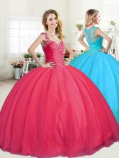 Excellent Straps Tulle Sleeveless Floor Length Sweet 16 Dress and Beading