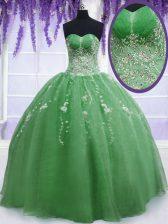 Dynamic Green Organza Zipper Sweetheart Sleeveless Floor Length Sweet 16 Quinceanera Dress Beading