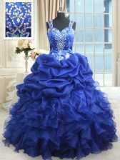 Customized Royal Blue Ball Gowns Organza Straps Sleeveless Beading and Ruffles and Pick Ups Floor Length Zipper Sweet 16 Dress