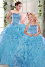 Hot Sale Aqua Blue Ball Gowns Beading and Ruffles 15th Birthday Dress Lace Up Organza Sleeveless Floor Length