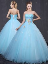 Customized Light Blue Sleeveless Tulle Lace Up 15 Quinceanera Dress for Military Ball and Sweet 16 and Quinceanera
