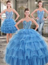 Best Selling Three Piece Blue Sleeveless Beading and Ruffled Layers Floor Length Ball Gown Prom Dress